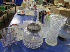 Various Glasswares, the largest vase 29cm