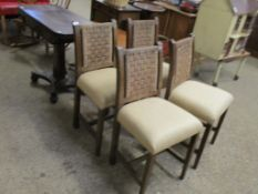 Set of four upholstered oak Dining Chairs, 86cm