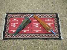 North African Prayer Mat with geometric border and stylised Animals, 110 x 57cm, t/w two modern