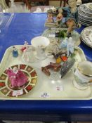 Mixed lot: Various including Royal Crown Derby 16cm Plate, lge Capodimonte Tramp Figure, etc.