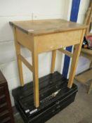 Beechwood single lift-up vintage School Desk, width 61cm