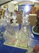 Four various Decanters, t/w asstd other drinks cabinet sundries, tallest decanter approx 30cm inc