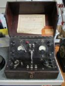 """Automobilia/Car interest: vintage """"The Hall Ignition Test Panel Type A"""" test equipment in oak-"""