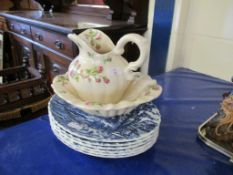 6 various Myott blue printed Dinner Plates, t/w rose decorated Wash Jug & Bowl