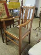 Tall early C20th Arts & Crafts style rustic oak Chair.