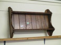 Rustic oak wall mounted Plate Rack, width 70cm