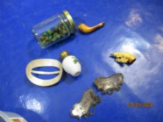 Mixed lot various small Collectables, inc silver plated Decanter Labels, Beads, etc.