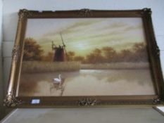 Modern oil on board, River Scene with windmill, in gilt frame