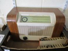 Ferguson portable vintage Radio, t/w walnut cased Bush wireless set and qty various Valves