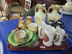 Mixed lot: various Voctorian and other Cermics, incl pr lge Vases (approx 29cm), graduated Jugs,