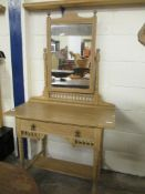 Colonial or Shaker style pine mirror-back Dressing Table, width 91cm