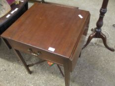Small single-drawer mahogany drop-leaf occasional Table, width 58cm folded
