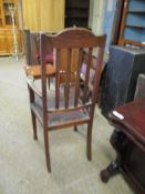 Early C20th rustic oak Armchair, in Arts & Crafts style, width 57cm max