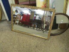 Modern gilt-framed bevel-edged Wall Mirror, 83 x 59cm
