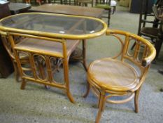 Bamboo glass-topped Tabel and two Chair Set, length 104cm