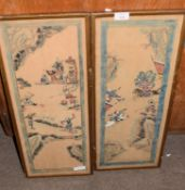 Two Chinese watercolours of warriors in light wooden frames, 53cm long (2)