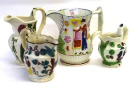 Group of 4 early 19th Century Pearlware jugs, 1 decorated in relief with promenaders, the other 3