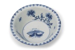 Large 18th century Lowestoft porcelain patti-pan decorated in underglaze blue with trailing flowers,