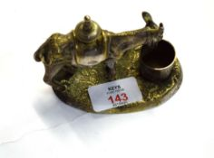 White metal inkwell, modelled as a donkey, 10cm long