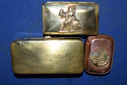 """Group of three military brass tins, one inscribed """"Lt F J Southgate, RFA"""", two further tins with"""