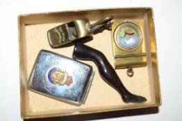 Two Vesta cases, a whistle and a clay pipe stamper