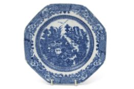 Late 18th century English porcelain plate of octagonal form, probably Caughley, with a printed