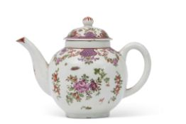 18th century Lowestoft porcelain tea pot with a polychrome design of floral sprays in so-called