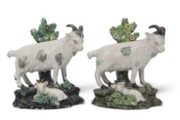 Two mid-19th century Staffordshire models of goats on rocky bases with kids at their feet, (2)