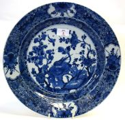 18th century Chinese porcelain charger probably Kangxi period, decorated in under glaze blue with