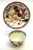 Lowestoft porcelain tea bowl and saucer in dolls house pattern with ferns