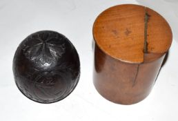 Tea caddy and coconut shell