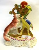 Staffordshire model of the fox and crane, from Aesop's Fables, with a pen holder to the front,