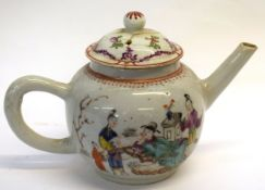 18th century Chinese porcelain teapot with a polychrome design of Chinese characters together with