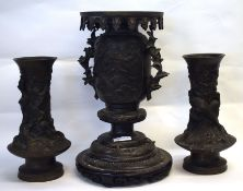 Group of 3 Oriental bronze vases, probably Japanese, 2 with birds around the neck with floral