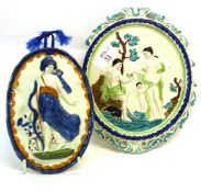 Pearlware or Prattware plaque of Diana the Huntress, together with a further plaque of pastoral