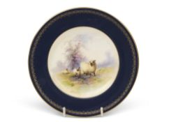 Early 20th century Royal Worcester side plate, the centre painted with sheep in a landscape,
