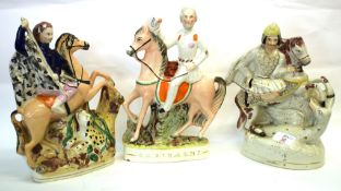 Group of 3 Staffordshire figures of characters on horseback, including 'St George and the Dragon'