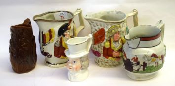 Group of Staffordshire jugs, late 18th/ early 19th Century, 2 modelled in relief with Wellington and