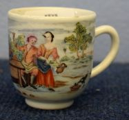 18th century Chinese porcelain cup, probably European decorated, possibly in the Giles Atelier, with