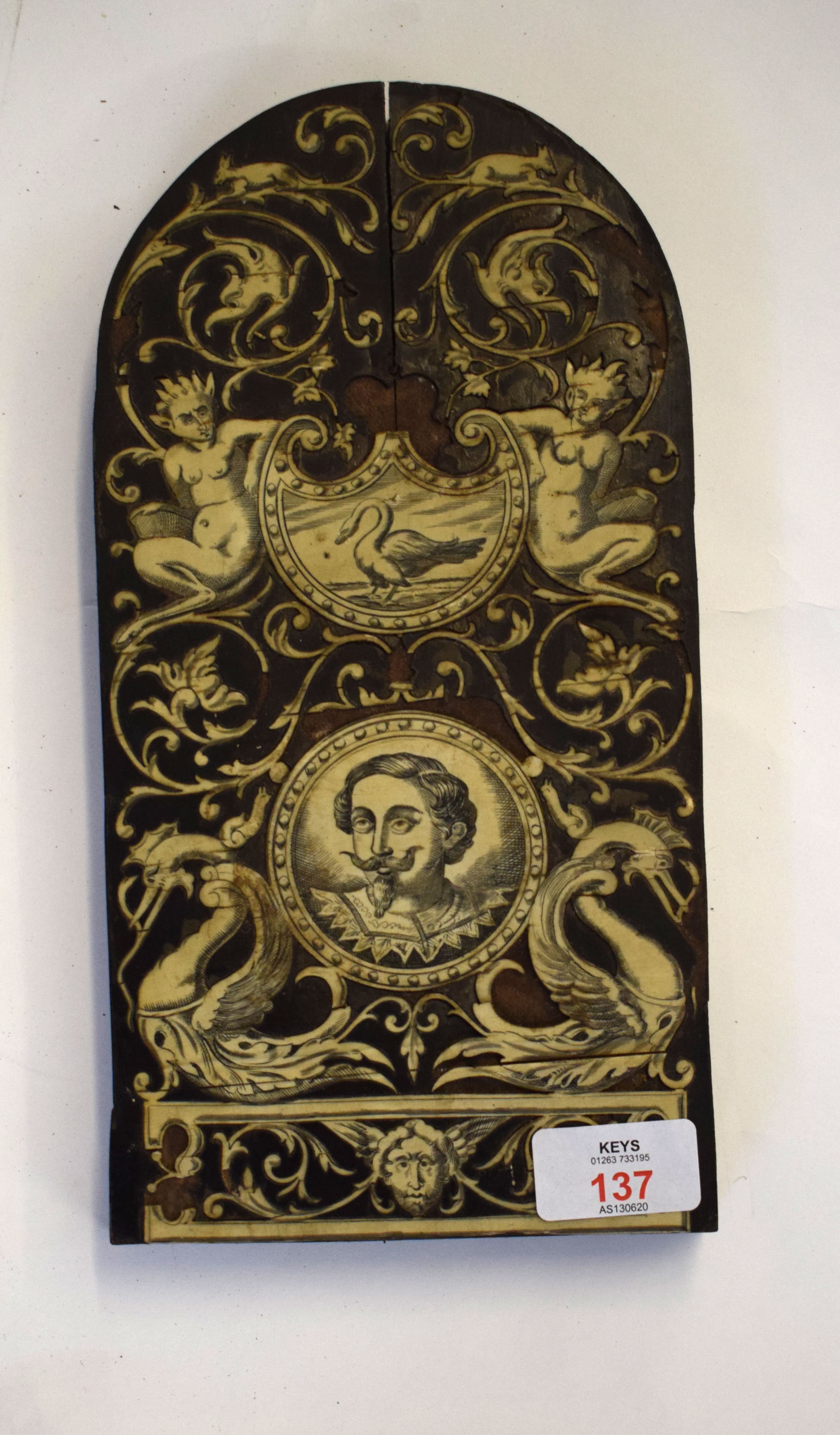 Lot 137 - Interesting wood and ivory inlay panel of elongated oval form, inlay of a portrait, and a swan