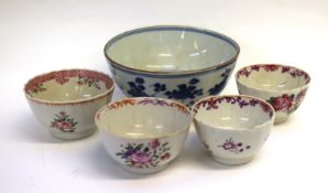 Group of 18th century Chinese porcelain bowls including a blue and white example with Kangxi