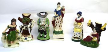 Group of Scottish pottery, probably Portobello, including model of a sheperdess, model of Charity, a