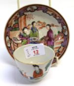 Chinese porcelain tea bowl with figures by a fence, together with an 18th Century Chinese export