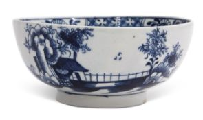 Lowestoft porcelain slop bowl decorated in underglaze blue with the long fence pattern, circa