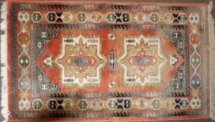 Late 20th century Kabir wool rug with medallion patterns in beige, blue and green to a pink