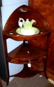 George III period mahogany corner wash stand, fitted upper tier with non-matching china jug and