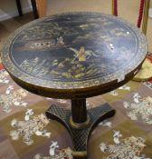 Chinoiserie style pair of circular tables, 79cm diam (2)