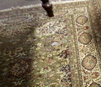 Large 20th century Wilton style rug with floral medallions and multi borders in red, olive and