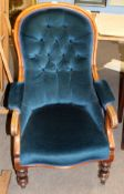 Victorian mahogany blue green button back upholstered gents armchair