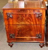 Early Victorian mahogany converted commode, of rectangular form, the lifting top enclosing a void